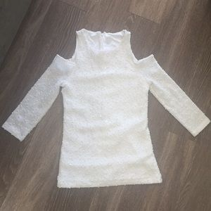 White Sparkle Cold Shoulder Top - S
